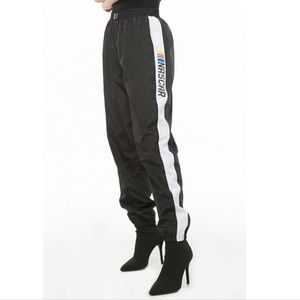 Forever 21 Black NASCAR Graphic Wind Joggers Sz S